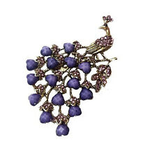 Vintage Bronze & Purple Peacock Brooch Pin BR197
