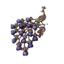 Vintage Bronze & Purple Peacock Brooch Pin BR197