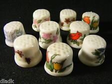Nine Vintage Porcelain Thimbles Flowers