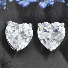 White Gold Plated Crystal Love Heart Womens Girls stud Earrings Silver Jewelry