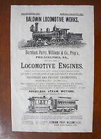 "(693L)RAILROAD BALDWIN LOCOMOTIVE WORKS RAILWAY ENGINES TRAIN AD REPRINT 11""X17"""