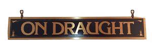 "Vintage Brass ""On Draught"" Bar Sign 2""×12"", Dark Blue on Brass, Home Bar, Beer"