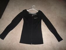 GUESS SWEATER TOP FOR WOMAN: BLACK: SIZE: LARGE: ZIPPER CLOSED
