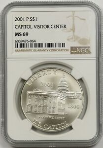 2001-P Capitol Visitor Center $1 NGC MS 69 Silver Modern Commemorative Dollar