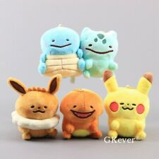 5X Pokemon Ditto Pikachu Bulbasaur Eevee Metamon Plush Keychain Toy Stuffed Doll