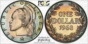 1968 LIBERIA 1 DOLLAR PCGS MS66 ONLY 2 GRADED FINER TONED RAINBOW COLOR UNC (DR)