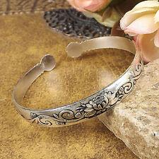 Women Tibetan Silver Cuff Bangles Carved Flower Bohemian Vintage Bracelets 1pcs
