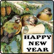 30 Custom Vintage Happy New Year Birds Personalized Address Labels