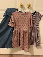 Lot Of 3 Girls Dresses Denim Crewcuts Huxbaby Hux Baby Zara Size 5 6 Dress Pink