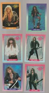 Lot of 6 Warrant rock band trading cards Pub. 1991 Brockum Rockcards