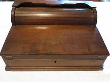 Antique Walnut Roll Top Lap Desk with Pull Out Drawer