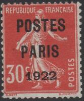 "FRANCE  TIMBRE PREOBLITERE 32 "" SEMEUSE 30c POSTES PARIS 1922 "" NEUF (x) TB J725"