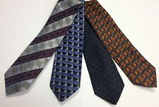 TINO COSMA Lot Of 4 Men Geometric Print Blue Navy Gray Assorted Silk Ties B4319J