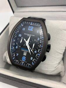 Montres De Luxe Men's Chronograph Estremo Luminous Black Leather Date Wristwatch
