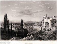 Verona: Panorama da Colle San Pietro. Acciaio. Stampa Antica + Passepartout.1835