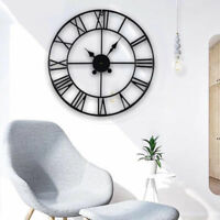 60cm Large Roman Wall Clock Round Black Numeral Metal Skeleton Vintage Antique