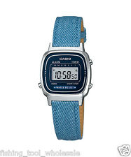 LA670WL-2A2 Blue Casio Damenuhren Echtes Leder Band Stoppuhr Alarm Neu