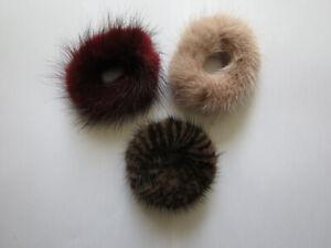 3pcs//set of real mink fur scrunchies hair band ponytail holders elastic band b/&b