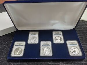 2011 W 5-PIECE 25TH ANNIVERSARY US AMERICAN EAGLE SILVER DOLLAR SET NGC MS 69