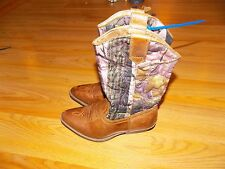 Youth Size 13 M Rodeo Ropers Cowgirl Boots Camouflage Brown Pink Cloth Shaft EUC