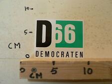 STICKER,DECAL D66 DEMOCRATEN POLITIEKE PARTIJ