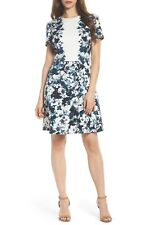 Maggy London Harlequin Texture Print Fit & Flare Dress JEWEL Neck Size 8