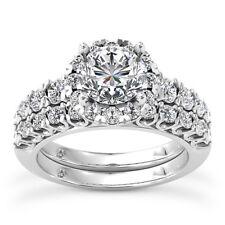 Halo Pave 2.00 Carat VS2/H Round Diamond Engagement Ring Set 14K White Gold