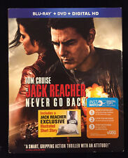 Jack Reacher: Never Go Back (Blu-ray/DVD/Digital HD, 2017) NEW w/ Slipcover
