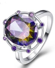 Sterling Silver 925 High Quality Oval Rainbow Purple Topaz Ring Size 5.75 EU 51