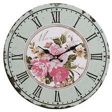Clayre&eef Horloge Murale Rose Déco MDF Rustique Shabby Vintage 34cm