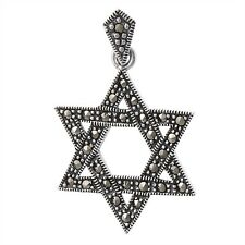 Intricate Star of David Jewish Marcasite Pendant Fancy Charm Sterling Silver