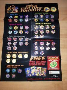 Rare Very Good Condition 2003 Beyblade Mega Tazos/Caps/Dizks Poster/Checklist