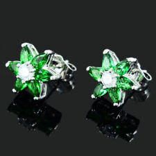 New 18K White Gold Plated Marquise Cut Emerald Green CZ Flower Stud Earrings