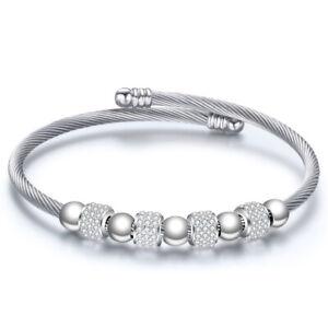 Bracciale da donna braccialetto acciaio avvolgente semirigido con strass sfere