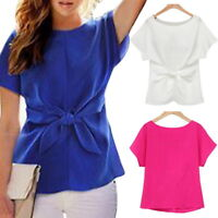 Womens Chiffon Blouse Short Sleeve Shirt Lady T-shirt Summer Blouse Casual Tops