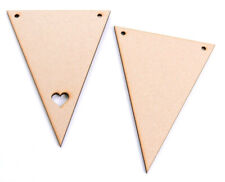 Wooden MDF Bunting Flags Triangles Plain or with Heart Cut out Variety of sizes