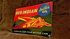 VINTAGE RED INDIAN GASOLINE PORCELAIN GAS OIL AIRPLANE SERVICE PUMP PLATE SIGN