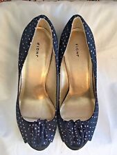 Fioni Womens 8 Navy Blue with Pink Polka Dots Peep Toe Heels