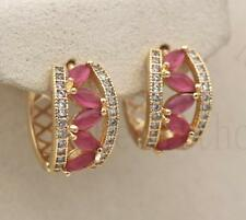 18K Gold Filled - Tiger Eye Hollow Pink Quartz Siamese Wedding Hoop Earrings