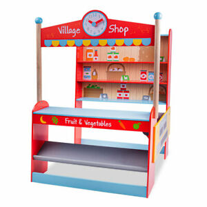 Bigjigs Toys Large Wooden Village Shop Pretend Role Play Shopping Playset