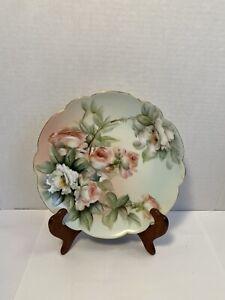 """Limoges E Miler Hand Painted Roses Cake Dessert Plate Scalloped Edge 8"""""""