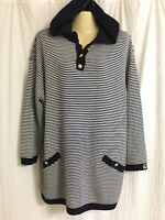 St John Collection Sz L navy white striped hooded knit popover sweater
