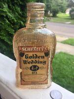 1936 Whiskey Flask Carnival Glass Finish Paper Label Golden Wedding 1/2 Pint