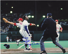JORGE ORTA  KANSAS CITY ROYALS  1985 WS CHAMPS WS SAFE PLAY AT FIRST SIGNED 8x10