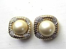 PANETTA Signed CLIP Earring LOT Faux Pearl and Rhinestone 2 PAIRS