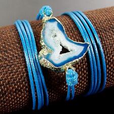 Nautral Druzy Geode Agate Gemstone Handmade Adjustable Blue Leather Bracelet