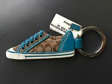 COACH Signature Teal Tennis Shoe Sneaker Key Fob Key Chain Bag Charm 92108 NWT