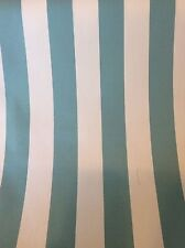 AQUA AND WHITE OUTDOOR STRIPE UPHOLSTERY FABRIC