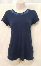 DKNY Blue Sequin Embellished Neckline Tee Shirt, Petite Small