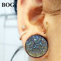 PAIR OF REAL AQUA CATS EYE TUNNEL PLUGS GAUGES BODY JEWELRY DOUBLE FLARED
